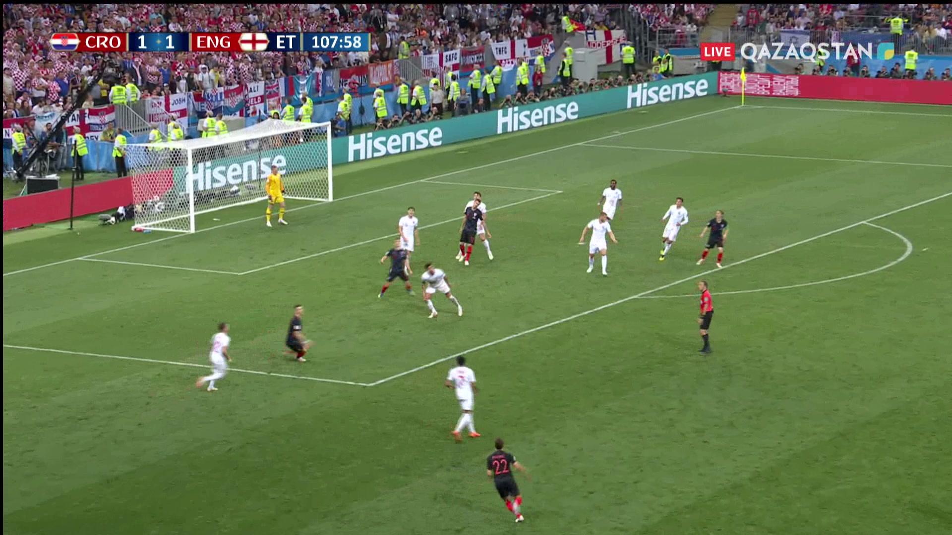 Хорватия – Англия – 2:1 | Әлем Чемпионаты 2018:  109' Марио Манджукич хорватиялықтарды есепте алға шығарды